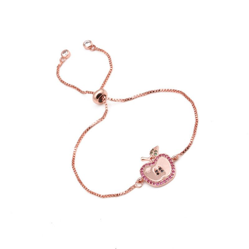 hot sale Brazilian style copper micro-set zircon apple bracelet ladies woven Valentine's Day gift wholesale nihaojewelry NHYL234195