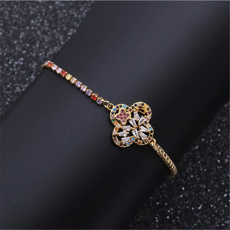 fashion jewelry copper micro inlay zirconium flower adjustable bracelet wholesale nihaojewelry NHYL234198