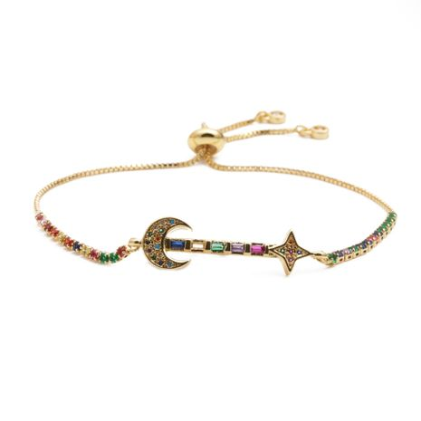 jewelry copper micro-set zirconium oval moon stars adjustable bracelet gift wholesale nihaojewelry NHYL234202's discount tags