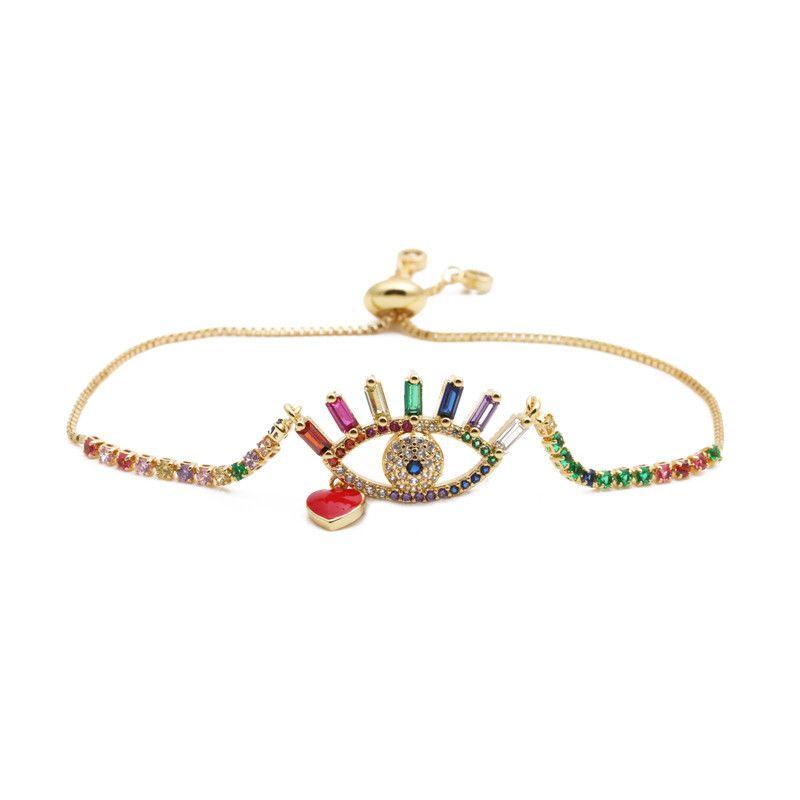 jewelry copper micro-set zirconium heart-shaped demon eyes adjustable bracelet gift wholesale nihaojewelry NHYL234203