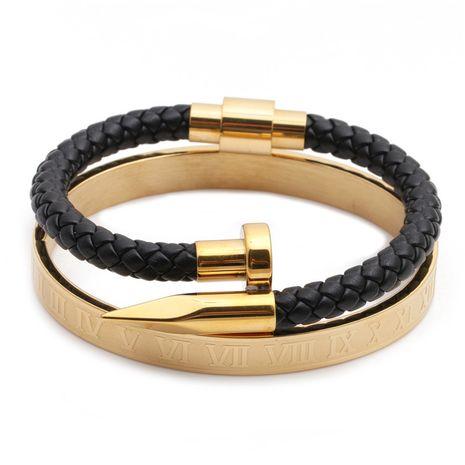 bijoux de mode alphabet romain boîte en acier inoxydable hommes tissé bracelet ouvert ensemble en gros nihaojewelry NHYL234210's discount tags