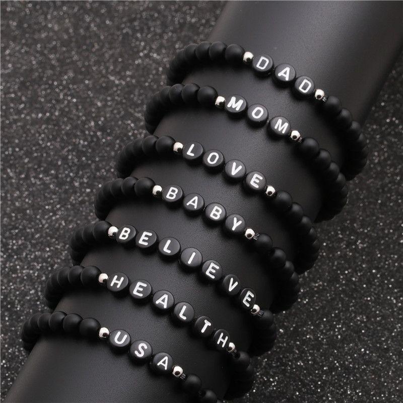 jewelry 6mm black matte stone English alphabet bracelet bead 36 English alphabet Bracelet wholesale nihaojewelry NHYL234212