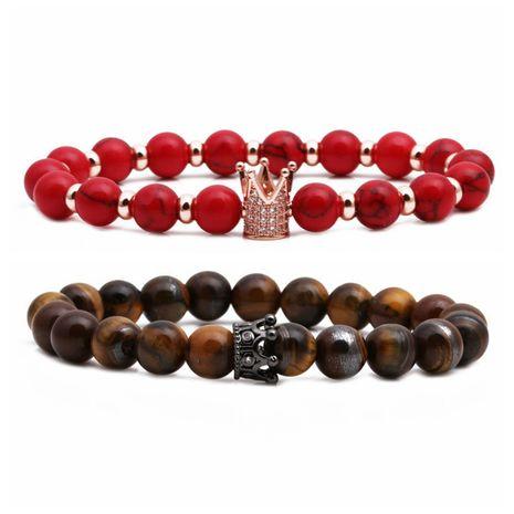 Hot Selling Tiger Eye Stone Crown Couple Bracelet Beaded DIY Set Bracelet wholesale nihaojewelry NHYL234214's discount tags