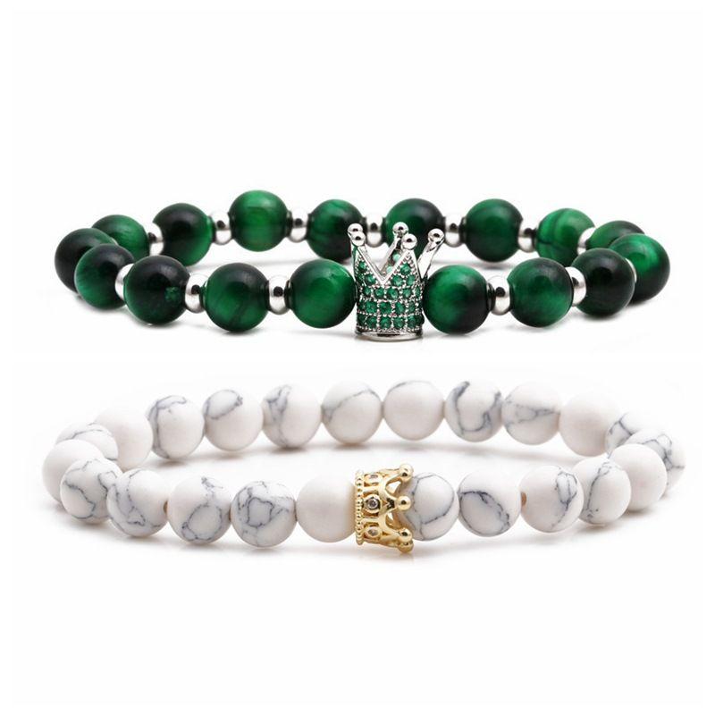 Baisong Tiger Eye Powder Crystal Micro Inlay Zircon Crown Couple Bracelet Copper Beads DIY Bracelet wholesale nihaojewelry NHYL234220