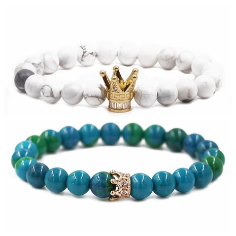 jewelry Phoenix stone frosted stone white turquoise crown couple bracelet beaded DIY Bracelet wholesale nihaojewelry NHYL234226's discount tags