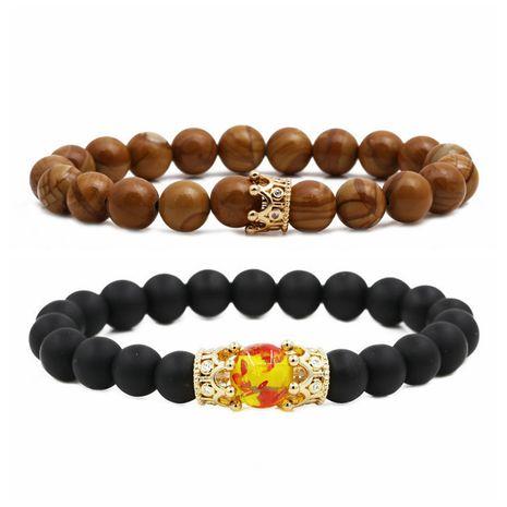hot sale frosted stone crown wood grain moonstone crown couple bracelet beaded DIY Bracelet wholesale nihaojewelry NHYL234227's discount tags