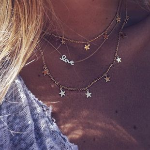 Hot-selling Bohemian fashion trend metal necklace simple multi-layer five-pointed star letter clavicle chain wholesale nihaojewelry NHKQ234232's discount tags