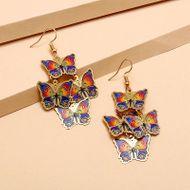 Fashionable retro bohemian ethnic style earrings enamel painted long butterfly earrings wholesale nihaojewelry NHKQ234245