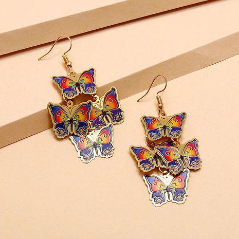 À la mode rétro boucles d'oreilles de style ethnique bohème émail peint longues boucles d'oreilles papillon en gros nihaojewelry NHKQ234245's discount tags