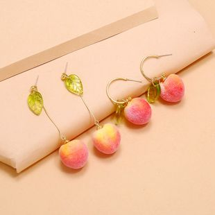 fashion new simple cute cartoon fruit earrings Korean peach 2 piece set earrings wholesale nihaojewelry NHKQ234246's discount tags