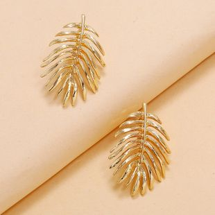 retro metal leaf shape earrings fashion simple creative design maple leaf earrings wholesale nihaojewelry NHKQ234250's discount tags