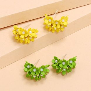 Korean fashion new creative flowers C-shaped earrings simple trend pearl earrings wholesale nihaojewelry NHKQ234251's discount tags