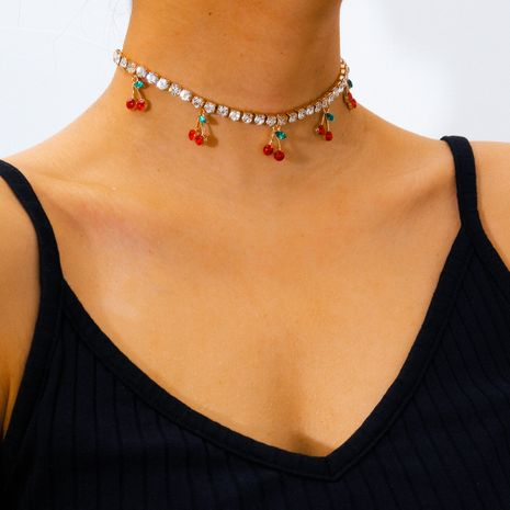 mode simple griffe chaîne strass cou chaîne petit clair cerise pendentif collier en gros nihaojewelry NHXR234256's discount tags