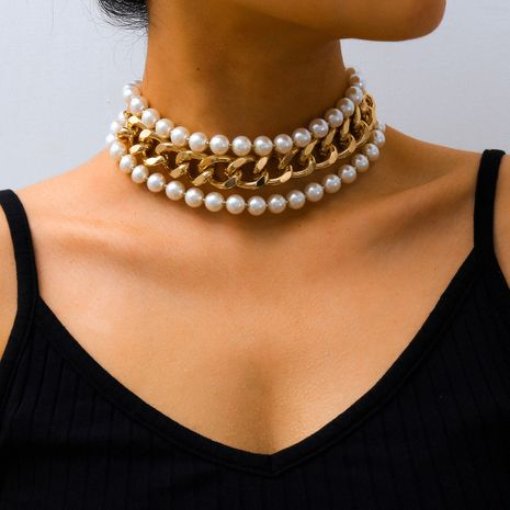creative jewelry fashion exaggerated imitation pearl multi-layer necklace simple chain wholesale nihaojewelry NHXR234258's discount tags