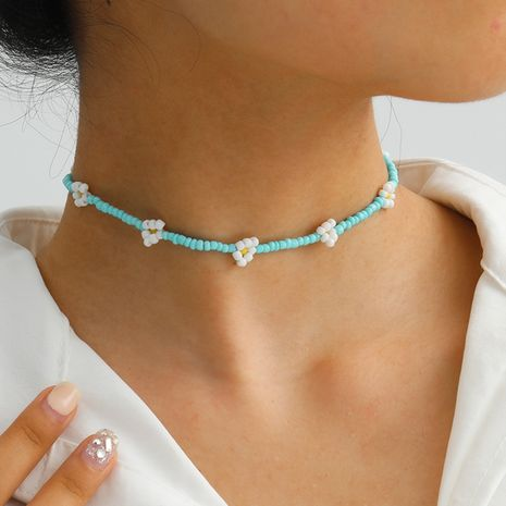 bijoux de mode couleur ornements ethniques perlés perles de riz créatives tissé petit collier marguerite en gros nihaojewelry NHXR234259's discount tags