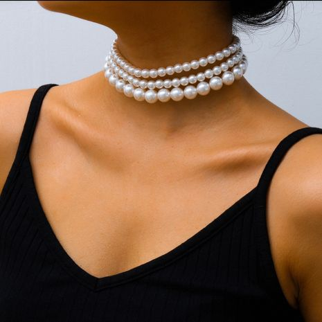 fashion jewelry boho style multi-layer necklace neck chain popular pearl necklace wholesale nihaojewelry NHXR234261's discount tags