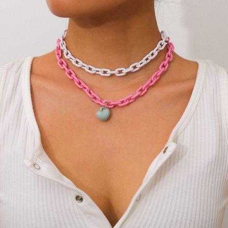 bijoux de mode acrylique multicouche nouvel article accessoires collier de couleur assortie en gros nihaojewelry NHXR234267's discount tags
