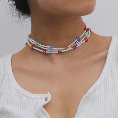 bijoux créatifs petit collier de marguerite simple collier de perles de riz en gros nihaojewelry NHXR234266's discount tags