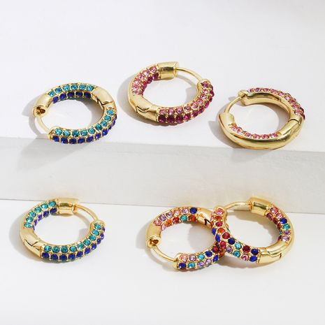 round color diamond-set copper earrings popular jewelry copper buckle wholesale nihaojewelry NHLL234272's discount tags