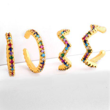 color zircon ear clips without pierced earrings geometric small ear ring ear bone clip earrings wholesale nihaojewelry NHLL234274's discount tags