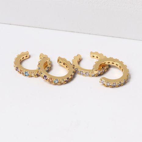ear bone real gold plated C-shaped earrings accessories zircon earrings wholesale nihaojewelry NHLL234276's discount tags