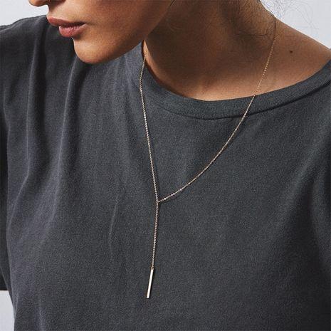 Collier en acier inoxydable plaqué or coréen pendentif rectangulaire géométrique chaîne de clavicule courte en gros nihaojewelry NHTF234281's discount tags