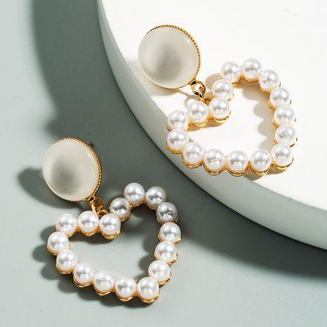 mode S925 argent aiguille coréenne boucle d'oreille super fée perle en forme de coeur boucles d'oreilles en gros nihaojewelry NHLN234286's discount tags