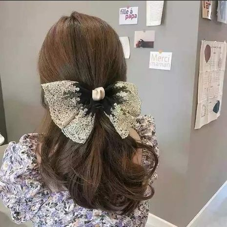 Korean lace hairpin horizontal clip large bowknot spring clip hairpin wholesale nihaojewelry NHLN234287's discount tags