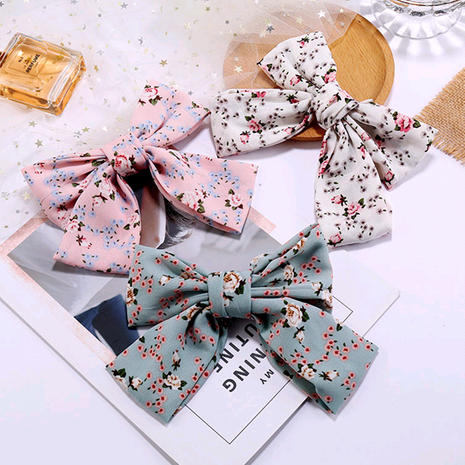 Korean fashion simple chiffon floral big bow hair accessories hair clip side clip wholesale nihaojewelry NHSC234298's discount tags