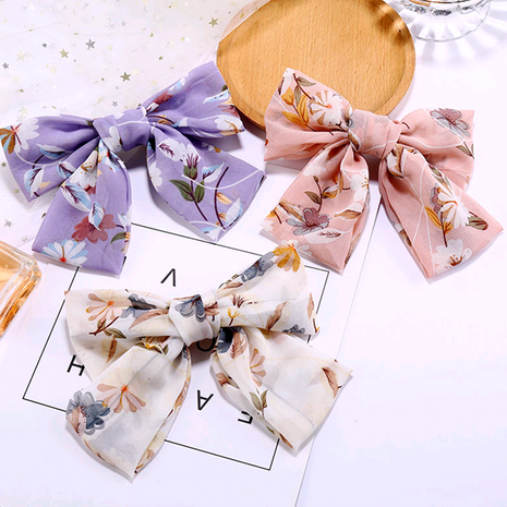 Korean fashion simple chiffon printing big bow hair accessories hair clip wholesale nihaojewelry NHSC234297's discount tags