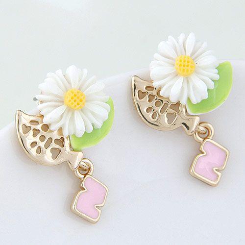Boutique Korean fashion sweet and simple bird flower earrings wholesale nihaojewelry NHSC234296
