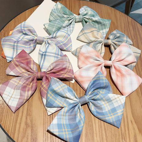 Girl plaid bow hairpin Korean super fairy uniform back head clip headdress wholesale nihaojewelry NHDQ234305's discount tags