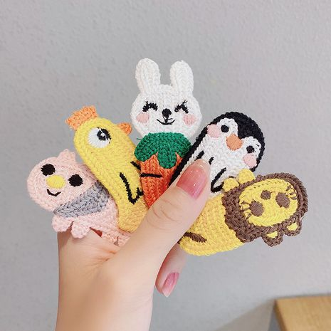 new cartoon side clip knitted bangs clip cute wool hair clip small clip hair accessories wholesale nihaojewelry NHNA234307's discount tags