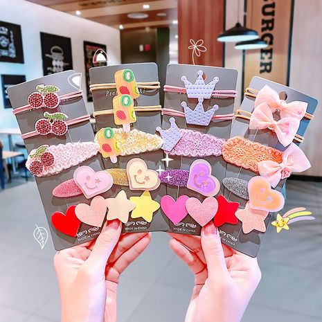 hair rope set lace bow knot rubber band frosted edge clip bangs clip cute headdress wholesale nihaojewelry NHNA234311's discount tags