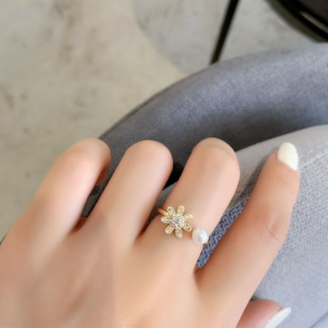 Korean popular new pearl flash diamond flower ring opening ring simple hand jewelry wholesale nihaojewelry NHMS234319's discount tags