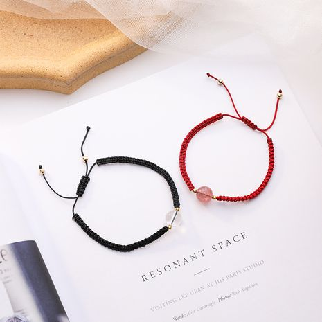 Natural Crystal Couple Bracelet Memorial Gifts Hand Woven Red Rope Bracelet wholesale nihaojewelry NHMS234321's discount tags