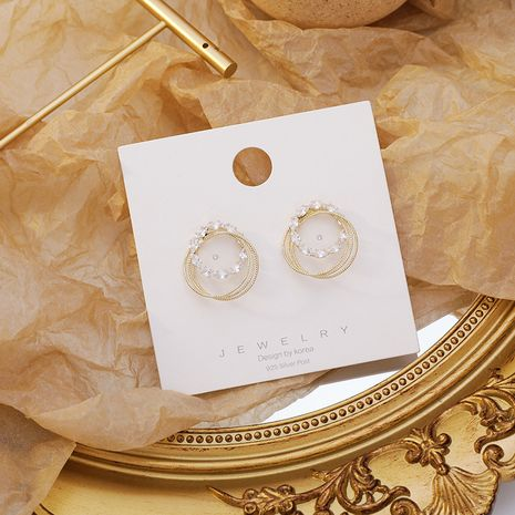 Korean 925 silver needle sparkling zircon round earrings metal ring staggered earrings wholesale nihaojewelry NHMS234326's discount tags