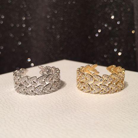 Anillo de oreja de trigo de lujo retro micro-set anillo de circón apertura anillo de goma ajustable al por mayor nihaojewelry NHWK234342's discount tags