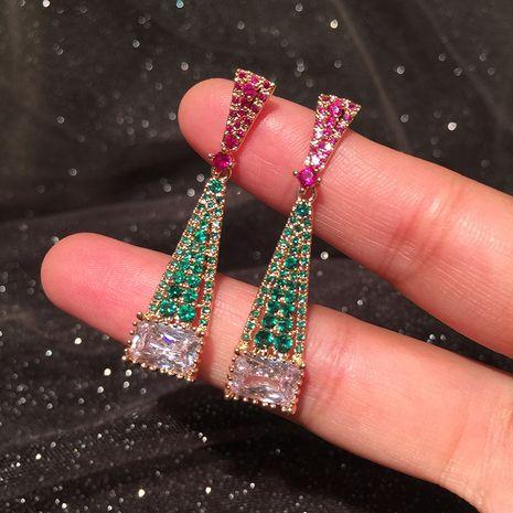 Vert triangle boucles d'oreilles longue simple élégante S925 argent aiguille contraste couleur rose géométrique gland boucles d'oreilles en gros nihaojewelry NHWK234345's discount tags