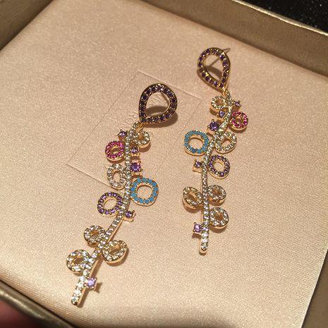 Digital wave earrings colorful gradient S925 silver needle sweet fairy long tassel balloon earrings wholesale nihaojewelry NHWK234352's discount tags