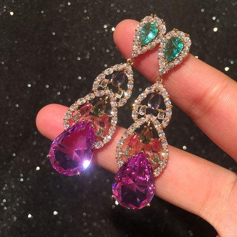 Purple crystal earrings fairy modified face S925 silver needle exaggerated super flash long tassel earrings wholesale nihaojewelry NHWK234355's discount tags