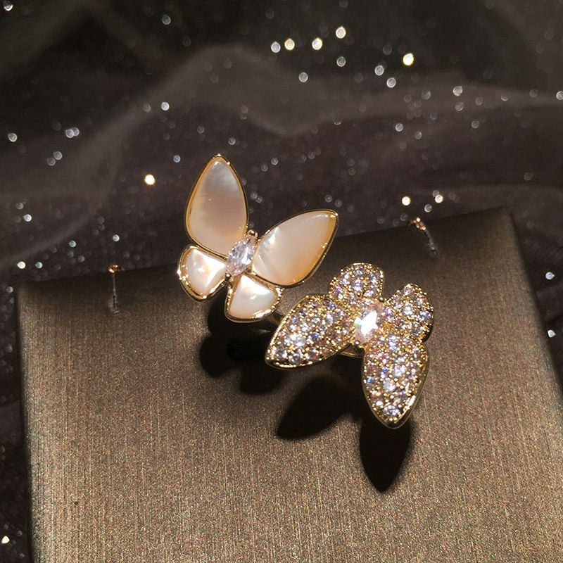 Shell Butterfly Ring Stereo Opening Adjustable Lady Trendy Ring Index Finger Ring wholesale nihaojewelry NHWK234358