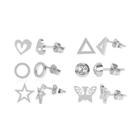 stud earrings stainless steel earrings 6 to one card earrings wholesale nihaojewelry NHCT234382's discount tags