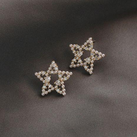 S925 plata aguja estrella perla dulce diamante pendientes moda nuevos pendientes venta al por mayor nihaojewelry NHXI234411's discount tags