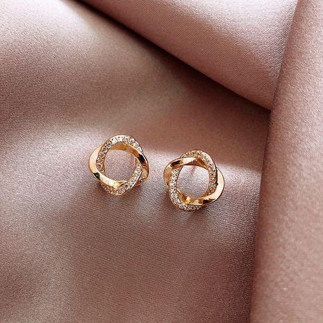 S925 aguja de plata pequeño círculo coreano engastado de diamantes de oro nuevos pendientes simples y compactos al por mayor nihaojewelry NHXI234414's discount tags