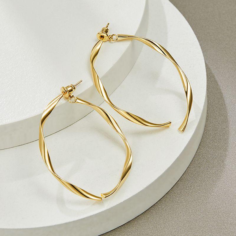 925 silver needle circle simple earrings new wave Korean exaggerated earrings wholesale nihaojewelry NHPP234424