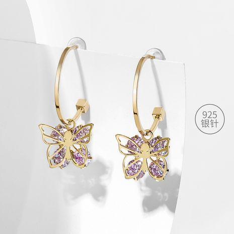 Aiguille en argent 925 violet mode boucles d'oreilles simples à la mode super fée papillon boucles d'oreilles exagérées en gros nihaojewelry NHPP234435's discount tags