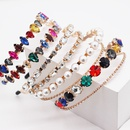 New fashion Baroque metal diamond doublelayer headband colorful pearl headband wholesale nihaojewelry NHWJ234460