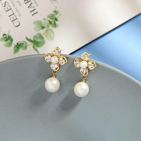 Moda coreana s925 pendientes de aguja de plata pendientes de perlas de diamantes súper pendientes de flores de hadas al por mayor nihaojewelry NHQD234466's discount tags