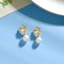 Korean fashion s925 silver needle earrings diamond pearl earrings super fairy flower earrings wholesale nihaojewelry NHQD234466